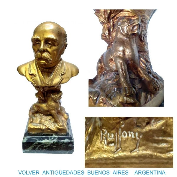 Antiguedades / Antiques   Georges Clemenceau Le Tigre interesting old signed bronze ormolu bust 8´´ VENDIDO / SOLD