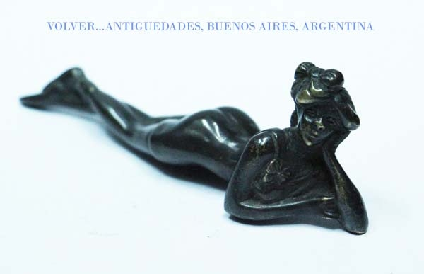 Antiguedades / Antiques   Nice old whore sensual lady on panties small bronze marble onix base