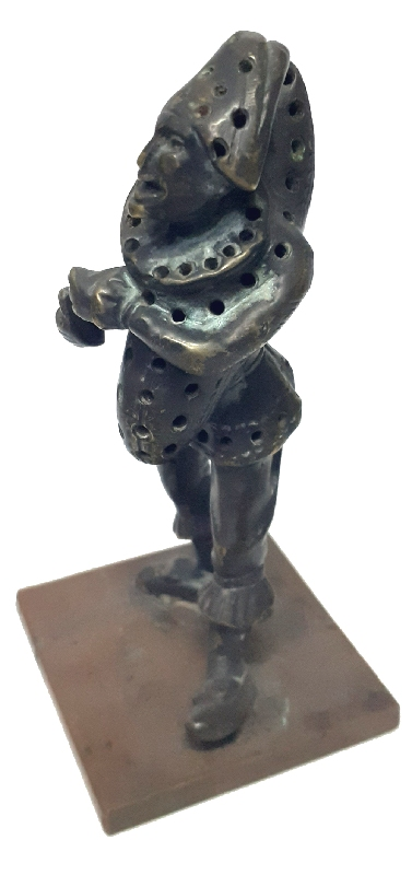 Antiguedades / Antiques   Pierrot Victorian harlequin slug ? bronze toothpick holder 11 x 4 x 4 Punchinell