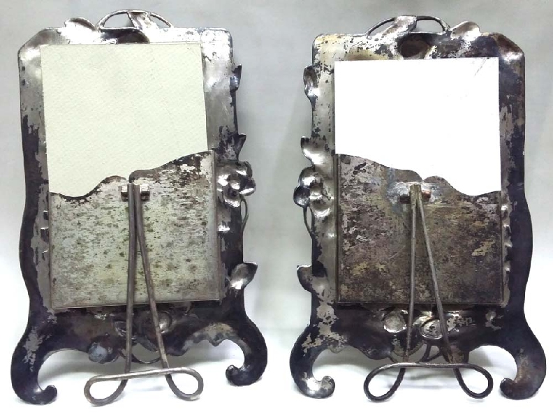 Antiguedades / Antiques   Interesting antique metal Art Nouveau pair of silver plated picture frame putto flowers