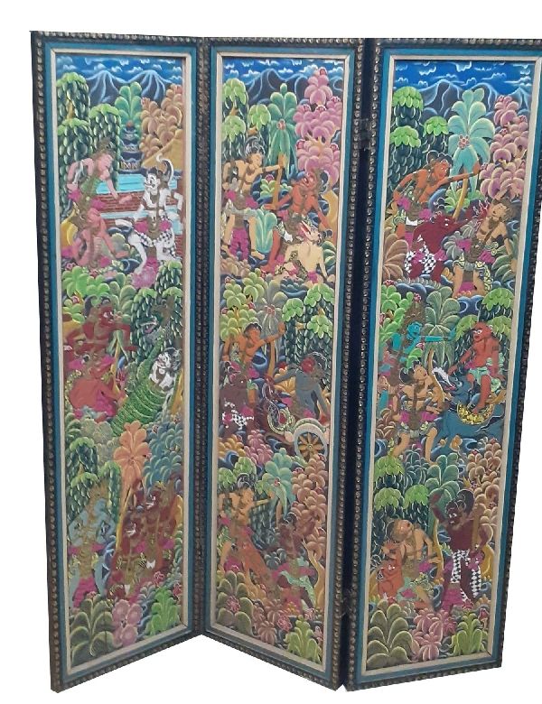 Antiguedades / Antiques   Stunning old Asian 4 panels screen hand carved multicolour colourfull