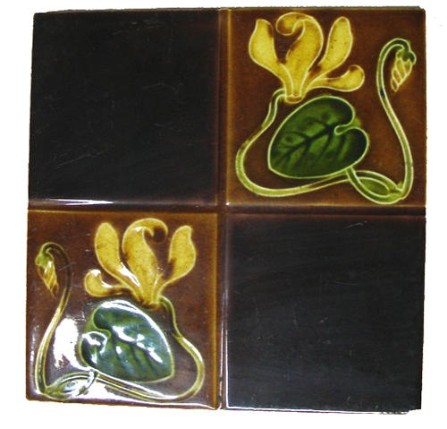 Antiguedades / Antiques   1 TILE MAJOLICA MAYOLICA ART NOUVEAU ANTIGUA