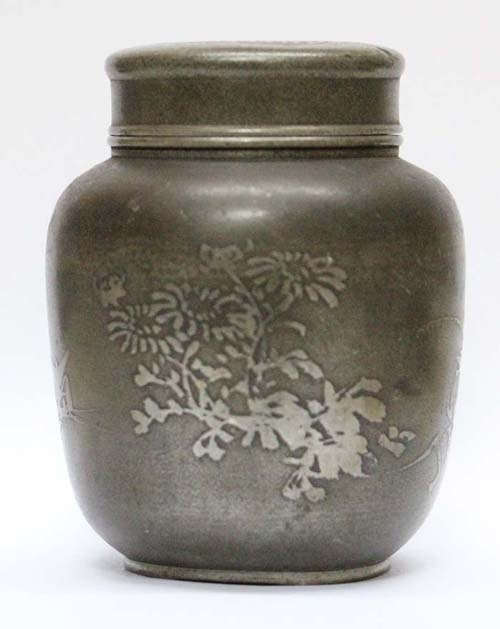 Antiguedades / Antiques   Antique pewter ? white metal asian China / Japan travel ? tea caddy 4 ' x 3 '