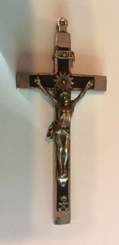 Antiguedades / Antiques   Chirst Crucifix bronze brass with ebony & skull 11 cm x 5 cm
