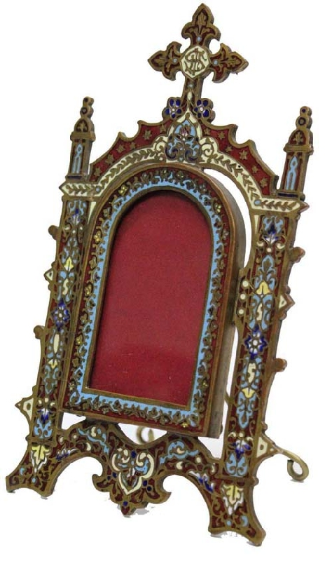 Antiguedades / Antiques   Antique French IHS Religious picture frame bronze enamel cloisonne cloissonne VENDIDO / SOLD