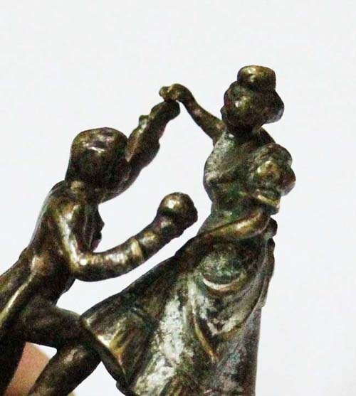 Antiguedades / Antiques   Interesting antique French bronze push bell call ringer romantic scene 1920