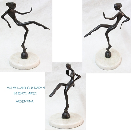 Antiguedades / Antiques   Nice old sensual woman dancing Hagenauer ? bronze figure