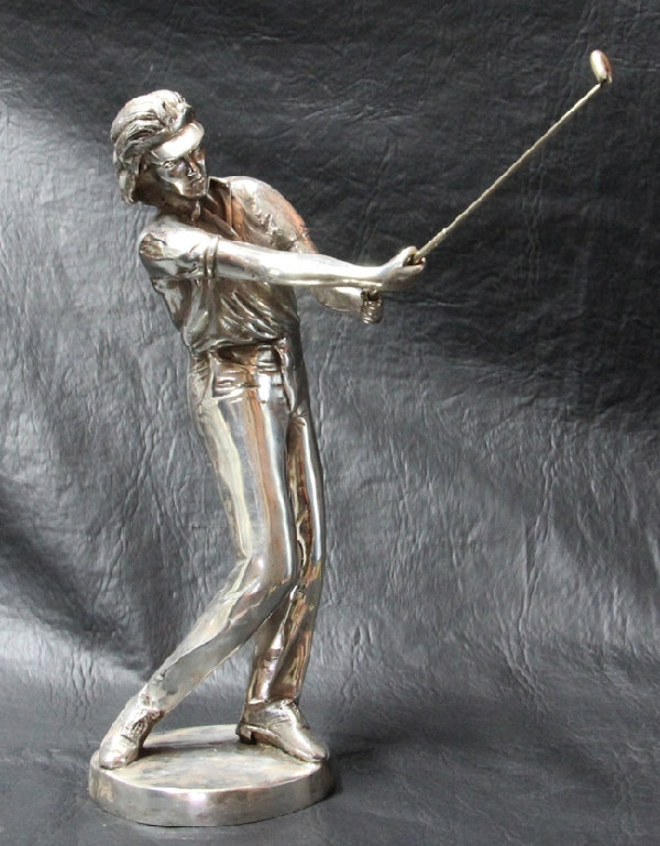 Antiguedades / Antiques   R Steve interesting old young man golfer golf bronze silver plated sculpture
