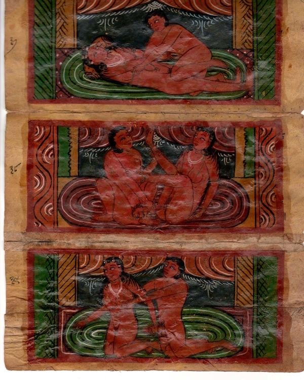 Antiguedades / Antiques   Lot of 8 small 9 cm x 20 cm oil on paper old KAMA SUTRA INDIAN erotic painting