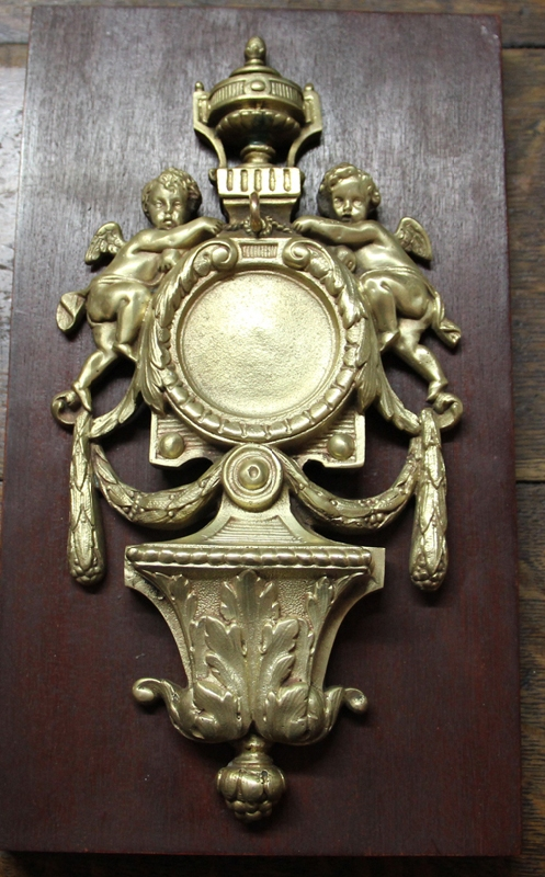 Antiguedades / Antiques   Stunning rare antique bronze pocket watch holder with angels 28 cm x 16 cm