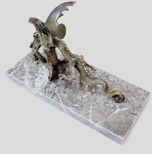 Antiguedades / Antiques   Rare antique French bronze angry Dragon on marble base 21 cm x 15 cm x 10 cm