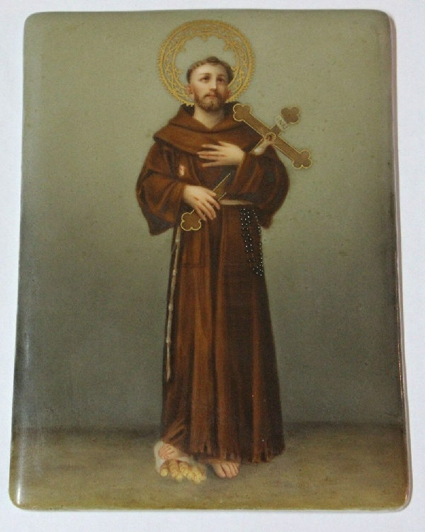 Antiguedades / Antiques   Saint St Francis interesting antique painting oil on porcelain Ca 1880 VENDIDO / SOLD