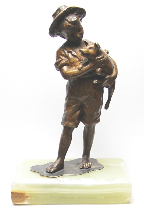 Antiguedades / Antiques   Lovely French bronze boy with pig piggie cochon pork on his arms 15 cm x 5 cm