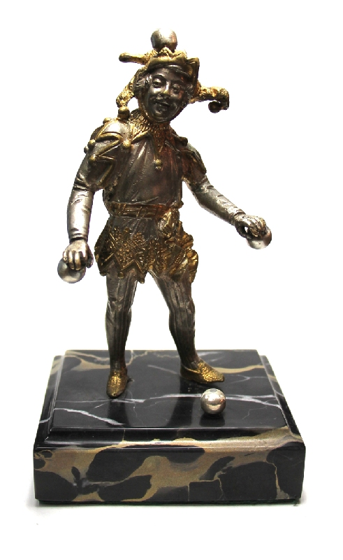 Antiguedades / Antiques   Lovely antique French bronze Juggler Harlequin 18 cm x 10 cm portoro base 1880