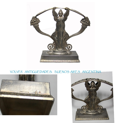 Antiguedades / Antiques   Nice antique WMF silverplate silver plated knife rest holder 18 cm x 15 cm