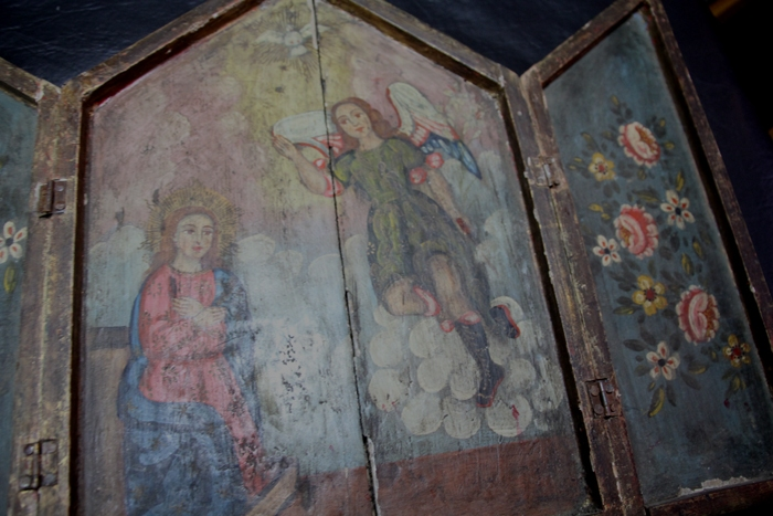 Antiguedades / Antiques   Nice antique Cuzco oil on wood tryptic Archangel folk art S XIX