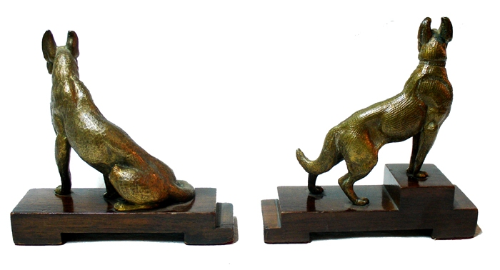Antiguedades / Antiques   Interesting old bronze sheepdog ? dog pair of BOOK ENDS Ca 1930