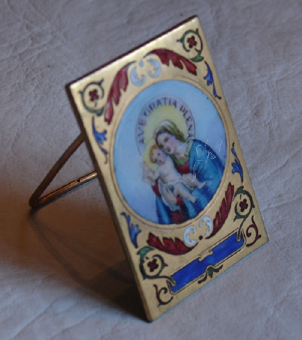 Antiguedades / Antiques   Antique bronze enamel Virgin Mary and baby Jesus small plaque AVE GRATIA PLENA