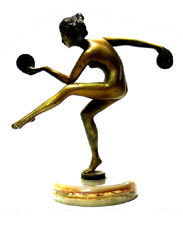 Antiguedades / Antiques   Old bronze art deco naked woman dancing with disks on marble base 22 cm x 22 cm