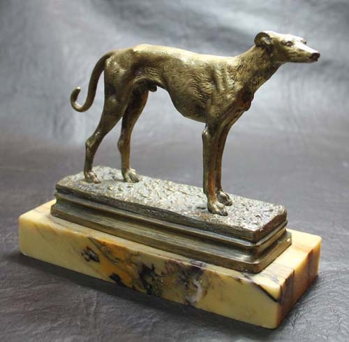 Antiguedades / Antiques   Old French Alfred Dubucand small male Greyhound bronze dog 12 cm x 11 cm CA 1880