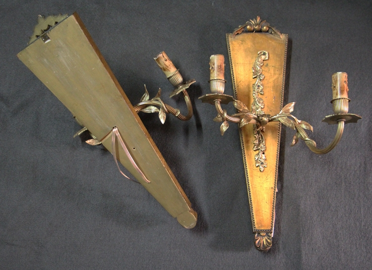 Antiguedades / Antiques   Interesting old wooden wood & brass golden French pair of sconces 45 cm x 25 cm