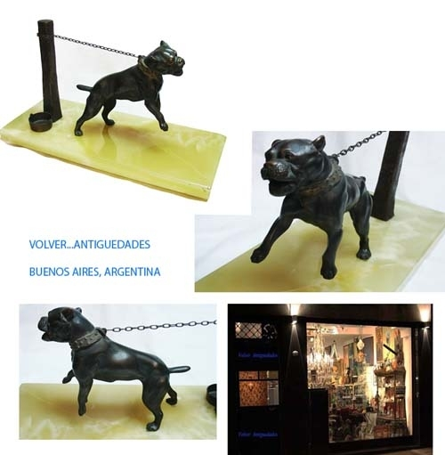Antiguedades / Antiques   RARE old angry barking growlling PITBULL attacks bronze dog with chain bucket