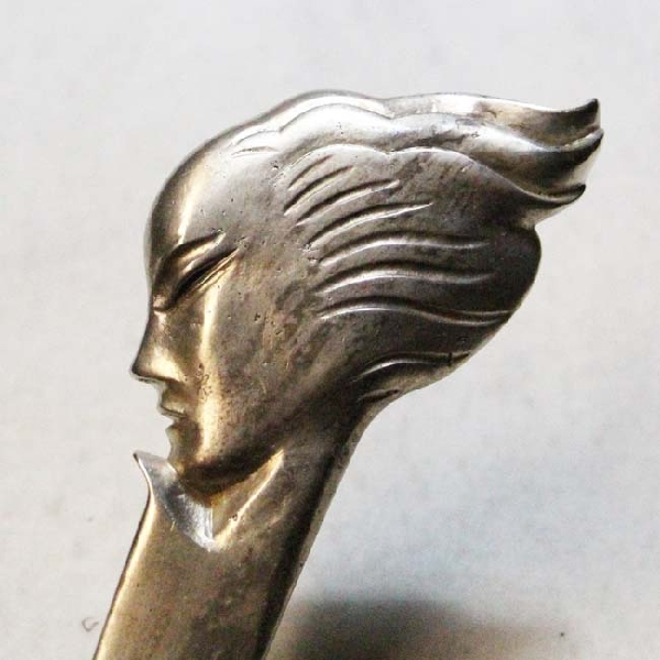 Antiguedades / Antiques   Rare nice bronze silver plated art deco woman lady head letter opener 24 cm x 6