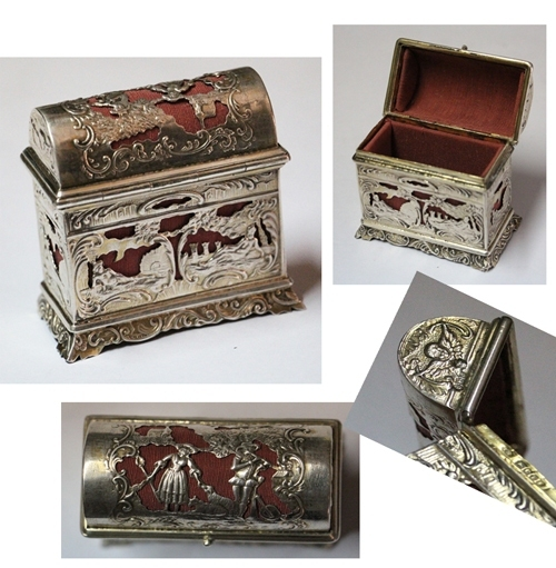 Plata / Silver   Lovely antique full marked silver jewelry box tiny chest trunk shape 7 x 6,5 cm