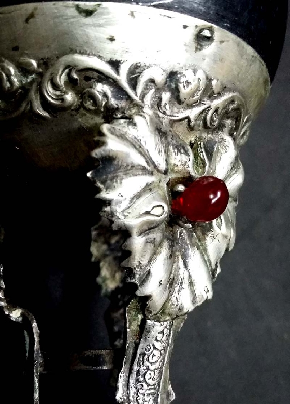 Plata / Silver   Nice antique and rare silver mate calabaza fruit leaves stones 5´´