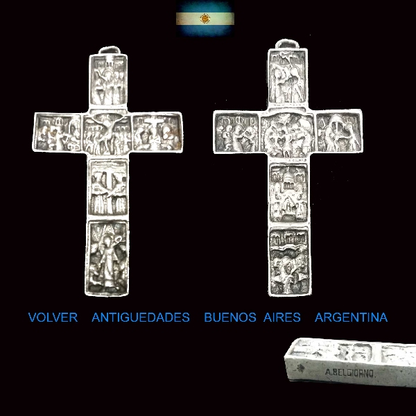 Plata / Silver   Antonio Belgiorno STUNNING antique silver cross crucifix Passion of Christ VENDIDO / SOLD