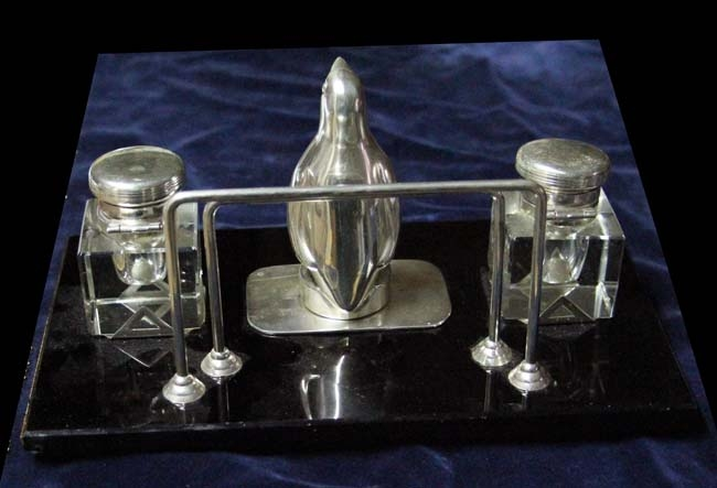 Plata / Silver   Funny Art Deco silver plated & black glass penguin pingüino inkwell 24 x 11 cm