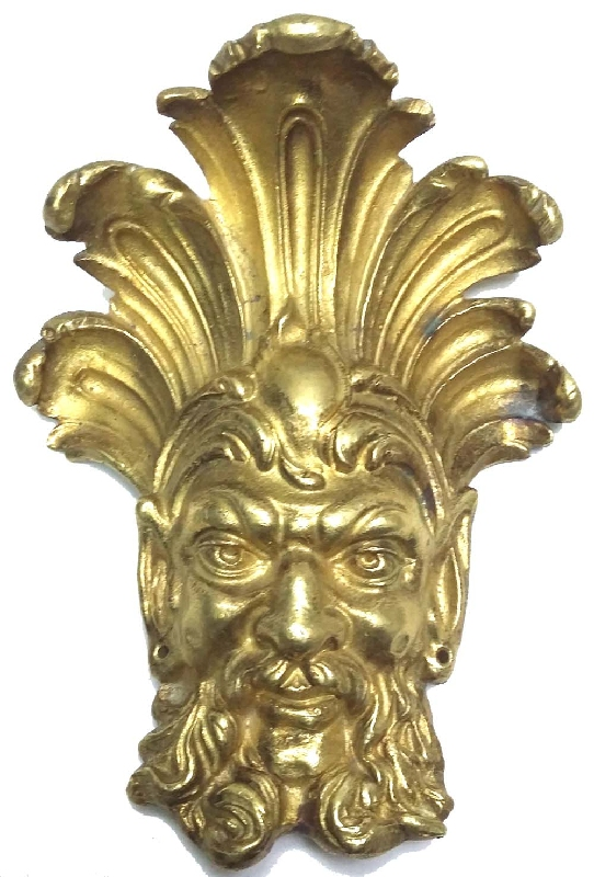Aplicaciones de muebles y bronceria   Rare old french Devil God Satan bronze ormolu furniture part 6´´ x 5´´ VENDIDO / SOLD