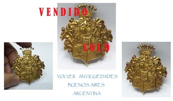Fashion / Moda accesorios etc   Rare old brass brooch heraldic pattern motiv 7 cm x 5,5 cm