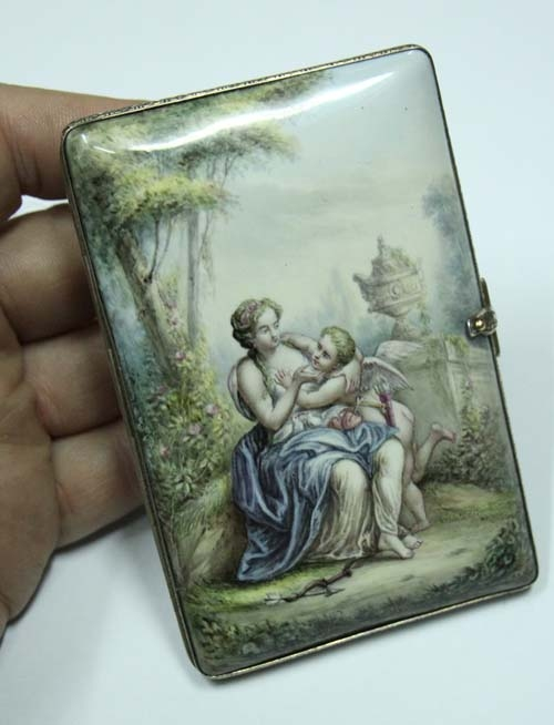 Fashion / Moda accesorios etc   Stunning Museum piece silver & enamel UNIQUE dancing card cupid love lady