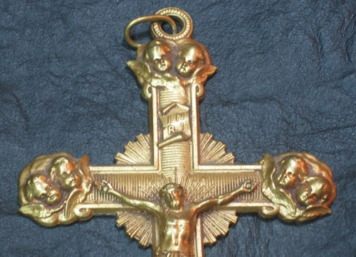 Fashion / Moda accesorios etc   Rare bronze golden cross with Jesus Christ and angels on each corner