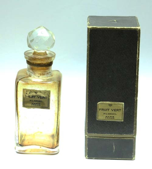Frascos Perfume / Perfume Bottles   Vintage FRUIT VERT FLOREL Paris perfume bottle w/box RARE