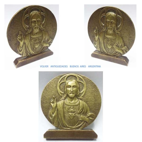 Medallas / Medals / Fichas / Token   Sacred Herat of Jesus Christ old brass bronze plaque medal 8 cm 7 cm