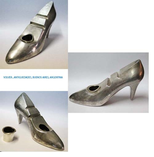 Elementos de escritorio / Desktop items   Funny rare old lady's SHOES silver plated inkwell pen stand 20 x 11 x 6 cm