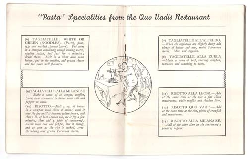Documentos / Papeleria   Recipes of Specialities LEONI'S Quo Vadis Restaurant  1926