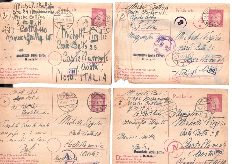 WWI WWII   Lot of 16 stationary Germany Cottbus to Italy Castellamonte WWII PC