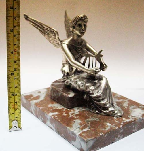 Automobilia / Transportation   Stunning old French bronze silver plated winged goddess with lyre car mascot